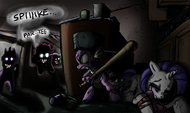 Spike protect injured Rarity from zombie ponies