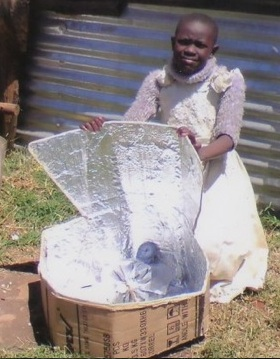 Hexagon Solar Cooker, Eldoret student projects, detail, 11-29-12
