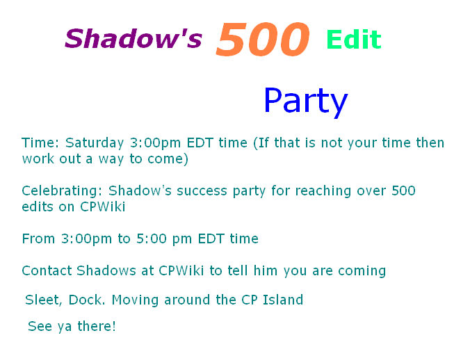 Shadows 500th edit party