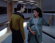 Data and a pregnant Troi
