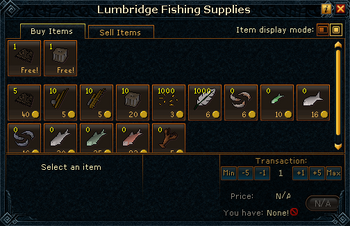 Lumbridge Fishing Supplies stock