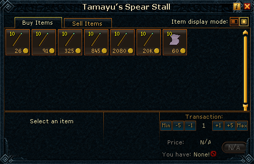 Tamayu's Spear Stall stock