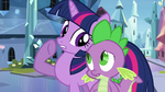 Twilight whispering to Spike S3E1
