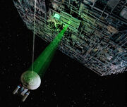 USS Enterprise-D assaulted by a Borg cube