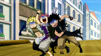 Natsu,Sting and Gajeel during the race