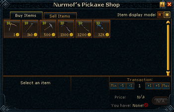 Nurmof's Pickaxe Shop stock