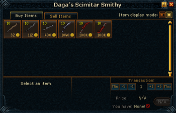 Daga&#39;s Scimitar Smithy stock