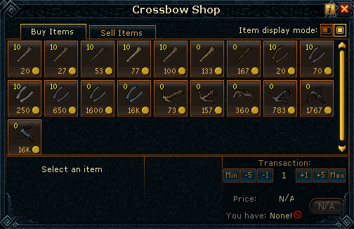 Crossbow Shop stock