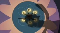 Chrysalis's reflection on a chandelier S2E26