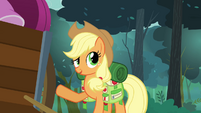 Applejack pointing at the cart full of Rarity&#39;s things S3E06