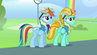 Rainbow and Lightning Dust ready for flag hunt S3E7