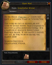 Greatfather Winter after quest letter