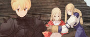 Ramza and Agrias protecting Ovelia