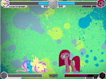 Fluttershy and Pinkie Pie unknown stage Fighting is Magic