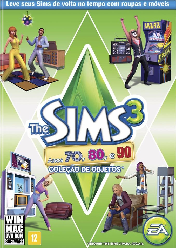 Capa The Sims 3 Anos 70, 80, e 90