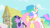 Twilight, Fluttershy, and Celestia laughing S01E22