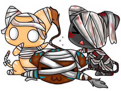 Nhan-Fiction Mummy cat chibis