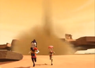 Yumi Aelita running from a tornado