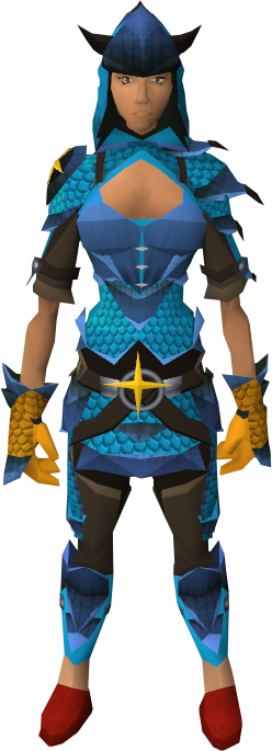 Blue d'hide blessed set equipped (female)