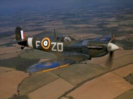 Spitfire VB 222 Sqn RAF in flight 1942
