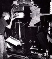 Doug Smith programming the motion control system of the K't'inga class studio model