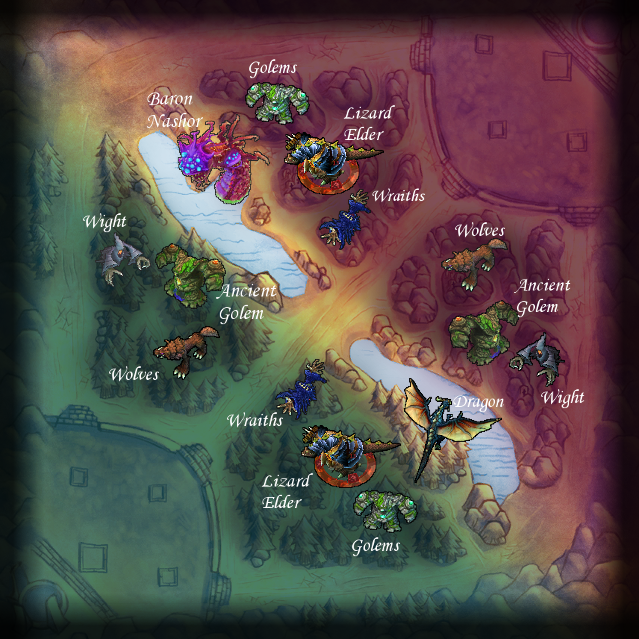 Summoner&#39;s Rift jungle map with monsters