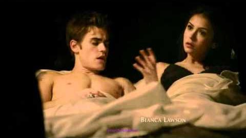 The Vampire Diaries Stefan and Elena in bed together than Damon comes in 1x13