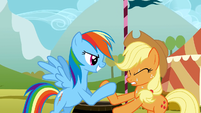 Rainbow Dash and Applejack in a hoof wrestling competition S01E13