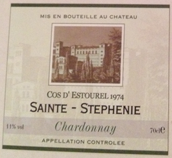 Cos d&#39;Estourel 1974 Sainte-Stephenie Chardonnay