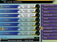 FFX Formation Menu