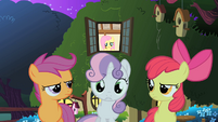 The CMC outside of Fluttershy's cottage S1E17