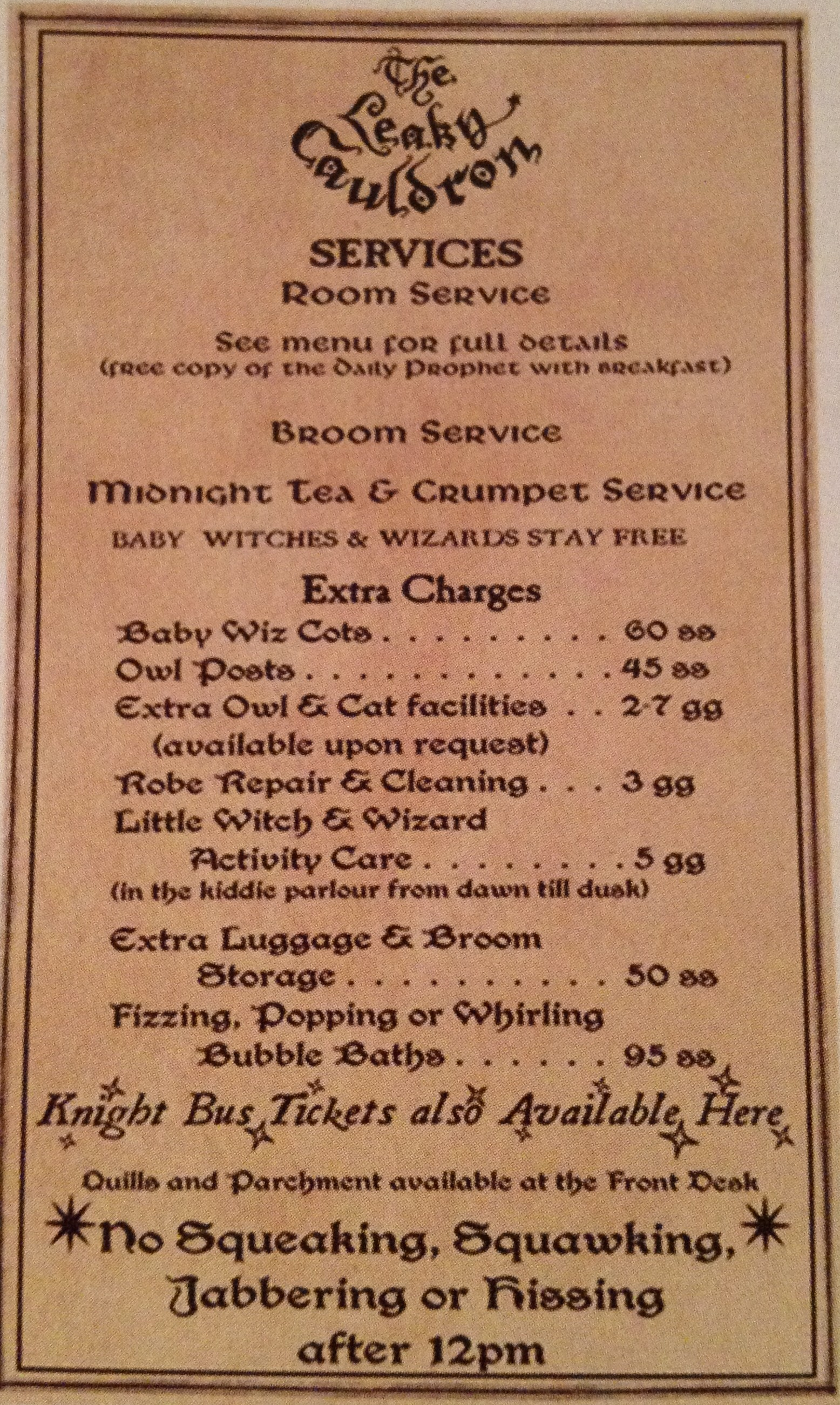 Leaky Cauldron Room Service