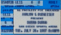 San Diego Sports Arena, San Diego, CA, USA 28 july 1987 ticket stub duran duran wikipedia