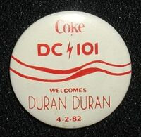 WWDC radio station, Washington DC, Promo pin badge for a Duran Duran concert, 1982.