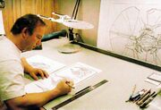 John Eaves working on the design of Ru'afo's flagship