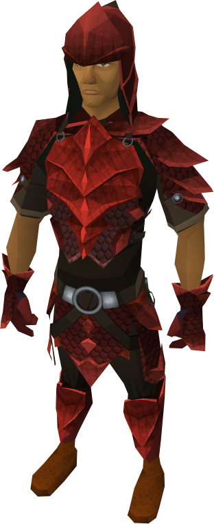 Red d&#39;hide armour equipped