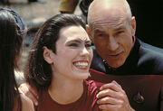 Michelle Forbes and Patrick Stewart