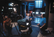 Stephen Hawking interviewed on set