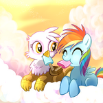 13407 safe rainbow-dash gilda young artist-csimadmax popsicle