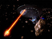 Enterprise fires on asteroids