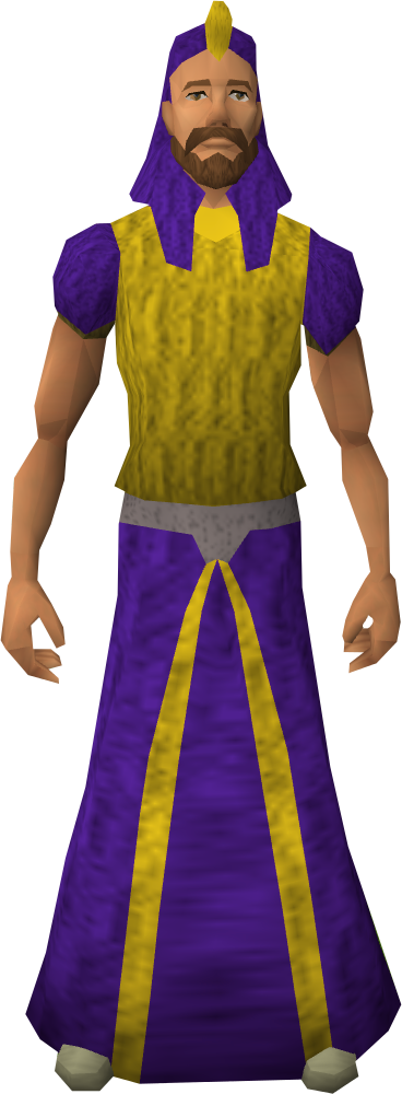 Purple menaphite robes equipped