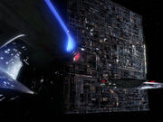 USS Enterprise-D in action against the Borg cube