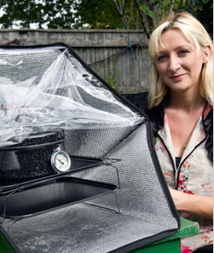 Kate Rowland with Sunflair solar oven