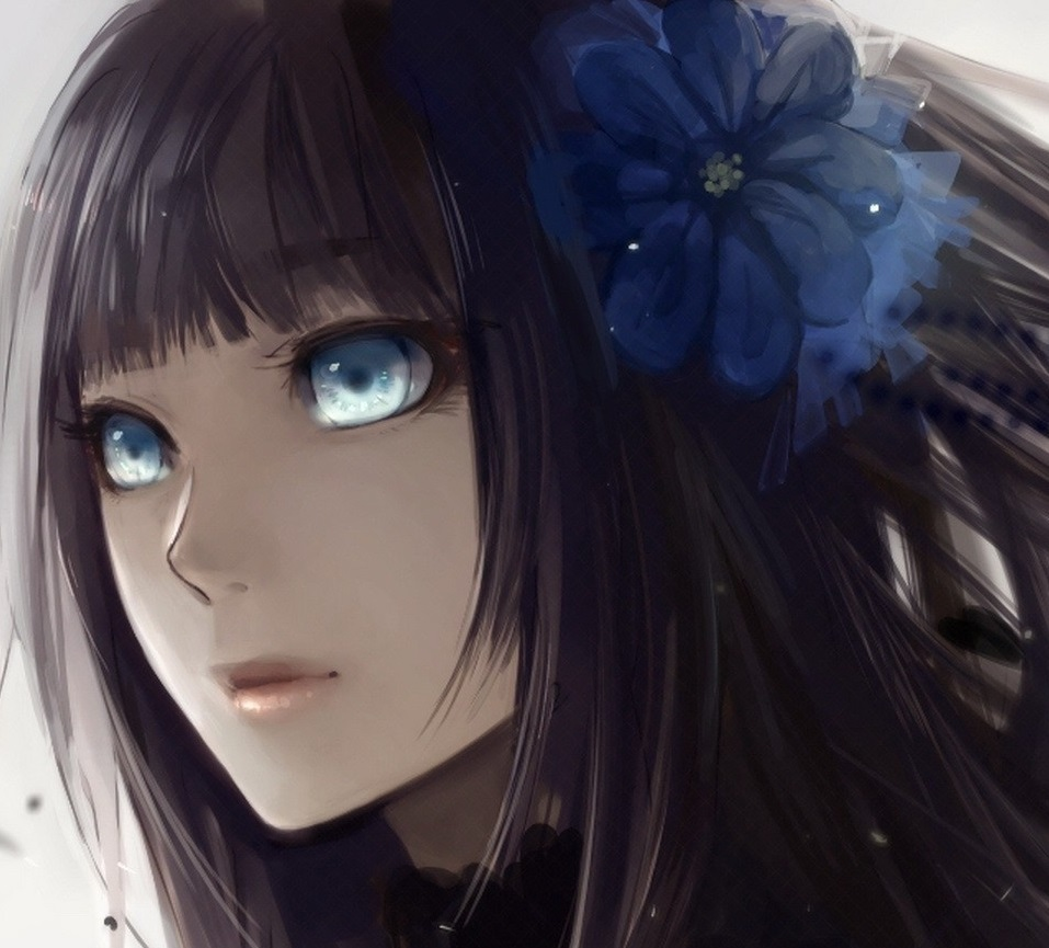 image tumblr static anime girl with black hair and blue