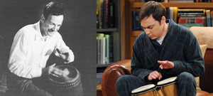 Feynman and Sheldon playing the bongos