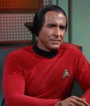 Khan wearing Starfleet uniform