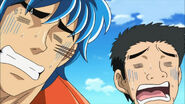 Toriko and Komatsu learning that the temple attacks