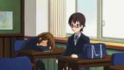 Yui sleeps at school