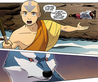 Aang negotiating with wolf spirit