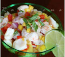 Shrimp and Scallop Ceviche and Grilled Avocado in a Papaya-Ginger Vinaigrette